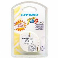 Dymo White Paper Letratag Tape Black Print