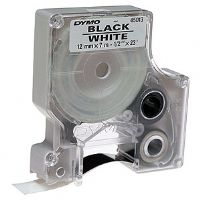 DYMO D1 White Tape with Black Print 1/2&quot;x23'