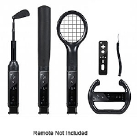 CTA Digital WI-6KB Nintendo Wii 6-in-1 Sports Pack - Tennis Racket, Baseball Bat, Golf Club, Steering Wheel, Remote Cover, Wrist Strap