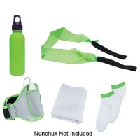 CTA Digital WI-AS5K Wii Active 5-in-1 Kit - Water Bottle, Leg Strap, Resistance Band, Cleaning Cloth, Socks