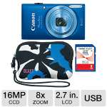 "Canon PowerShot ELPH 115 IS Digital Camera Kit - 16 Megapixels, CCD Sensor, 2.7"" LCD, 8x Optical, 4x Digital, 720p HD Video, 8GB SD Card & Camera Case Included, Blue (8605B004)"