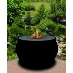 El Paseo Chat Height Fire Pit-Black-Light Green Reflective Glass-Without Granite