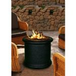 Island Chat Height Fire Pit-Black-Black Glass