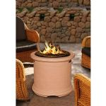 Island Chat Height Fire Pit-Adobe-Gas Logs