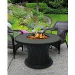 Rodeo Chat Height Fire Pit-Black-Diamond White Glass-Without Granite