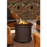Island Chat Height Fire Pit-Brown-Black Glass