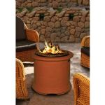 Island Chat Height Fire Pit-Burnt Orange-Gas Logs