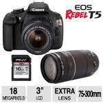 Canon EOS Rebel T5 Digital SLR - 18 Megapixels, 3x Optical Zoom, EF-S 18-55mm IS II Lens Kit + EF 75-300mm f/4-5.6 III Lens & SD Card Bundle - 9126B003