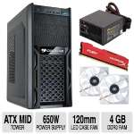 COUGAR Mid Tower Case 650W PSU KINGSTON 4GB Fanx2