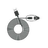 Kanex MiColor Duo - iPad / iPhone / iPod / cellular phone / tablet charging / data cable - Lightning / USB 2.0 - 5 pin Micro-USB Type B, Lightning (M) to USB (M) - 4 ft - black - for Apple iPad Air; i