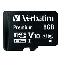 VERBATIM 44081 MICROSDHC(TM) CARD WITH ADAPTER (8GB CLASS 10))