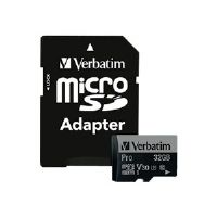 Verbatim PRO - Flash memory card (SD adapter included) - 32 GB - UHS Class 3 / Class10 - 300x/600x - microSDHC UHS-I