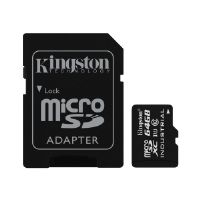Kingston - Flash memory card ( microSDXC to SD adapter included ) - 64 GB - UHS Class 1 / Class10 - microSDXC UHS-I