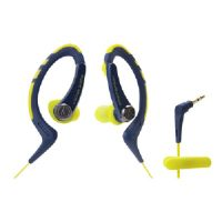 Audio-Technica SonicSport ATH-SPORT1 - Earphones - in-ear - over-the-ear mount - 3.5 mm jack - yellow/navy