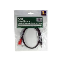 QVS - Speaker cable - mini-phone stereo 3.5 mm  (M) to RCA x 2 (M) - 25 ft - coaxial