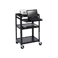Bretford Basics Adjustable Projector Cart A2642NS - Cart for projector / notebook - steel - black powder - screen size: up to 20""