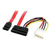StarTech.com SATA Serial ATA Data and Power Combo Cable - SATA cable - Serial ATA 150/300/600 - 22 pin SATA (R) - 4 pin internal power, 7 pin SATA - 1.5 ft - red - for P/N: PEXSAT2IDE2, PCISAT2IDE1, S