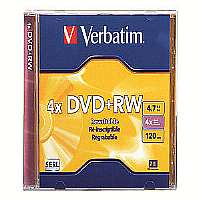 VERBATIM AMERICAS LLC DVD+RW, w/ Jewel Case, 1x-4x Recording Speed, 4.7GB