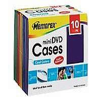 Memorex mini DVD Cases - Storage mini DVD case - blue, yellow, red, green, purple blue (pack of 10 )