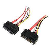 StarTech.com 12in 22 Pin SATA Power and Data Extension Cable - Serial ATA extension cable - 22 pin Serial ATA (F) - 22 pin Serial ATA (M) - 1 ft - red (SATA22PEXT)
