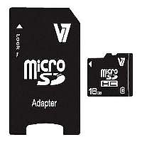 V7 VAMSDH16GCL10R-2N - Flash memory card ( microSDHC to SD adapter included ) - 16 GB - Class 10 - microSDHC