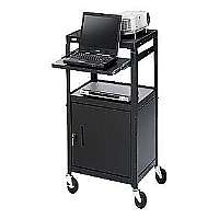 "Bretford Basics Adjustable Projector Cart with Cabinet CA2642NSE - Cart for projector / notebook - steel - black powder - screen size: 19"" - 20"""