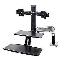 Ergotron WorkFit-A with Suspended Keyboard, Dual - Stand ( tray, fasteners, desk clamp mount, grommet mount, pivot, swing arm, crossbar ) for 2 LCD displays / keyboard - black, polished (24-392-026)