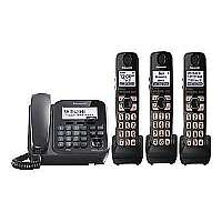 PANASONIC KX-TG4773B DECT 6.0 PLUS CORDED/CORDLESS PHONE SYSTEM WITH TALKING CALLER ID and DIGITAL ANSWERING SYSTEM (CORDED BASE SYSTEM and 3 HANDSE