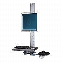 Bretford Basics Digital Kiosk Wall Mounts FPDK01 - Mounting kit ( keyboard shelf, tilt/swivel bracket, wall track mount, mouse shelf ) for flat panel / keyboard / mouse - aluminum - screen size: up to