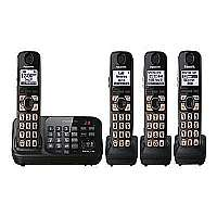 Panasonic KX TG4744B - Cordless phone - answering system with caller ID/call waiting - DECT 6.0 Plus - black + 3 additional handsets