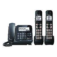 Panasonic KX TG4772B - Cordless phone - answering system with caller ID/call waiting - DECT 6.0 Plus - black + 2 additional handsets