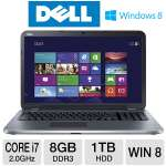 "Dell Inspiron 17R Notebook PC - 3rd generation Intel Core i7-3537U 2.0GHz, 8GB DDR3, 1TB HDD, DVDRW, 2GB AMD Radeon HD 8730M, 17.3"" Display, Windows 8 64-bit (i17RM-2742SLV)"
