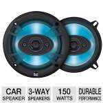 "Dual TS69 Illuminite Speaker - 6"" x 9"", 3-Way, 150 Watts, Black/Blue (Pair)"