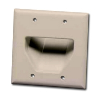 DATACOMM 45-0002-IV 2-Gang Recessed Plate - Ivory