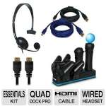 Dreamgear DGPS3-3832 5-in-1 Essentials Kit - PlayStation 3, Wired Headset, Quad Dock Pro, 2 Charging Cables, HDMI Cable