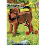 "Mini Colour Pencil By Number Kit 5""X7""-Puppy & But"