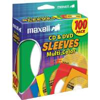 Sleeves, CD/DVD, Multi-Color, 100pk