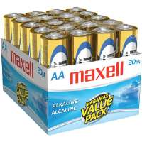 Maxell LR6-20MP AA Gold Series Alkaline Battery Bulk Retail Pack - 20-Pack