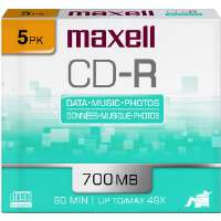 Maxell CDR-700-5 48x Write-Once CD-R For Data - 5/pack (648205)