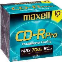 Maxell CD-RPRO/10PK 48x Professional-Quality Write-Once CD-R - 10 Pack, Jewel Case