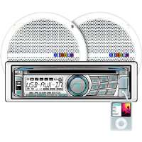 "Dual  200-Watt Marine Receiver with 6 1/2"" Dual Cone Speakers"