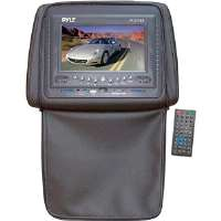 Pyle  Adjustable Headrests 7'' TFT/LCD Monitor With Built In DVD Player & IR/FM Transmitter With Cover-Black