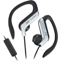 JVC  Sports Ear Clip Headphones With Mic And Remote-Silver