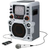 "GPX  Karaoke CD Boombox with Built-In 5.5"" B/W Monitor Display"