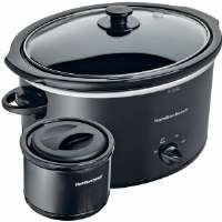 Hamilton Beach  Black 5-Quart Slow Cooker and Black 2-Cup Food Warmer