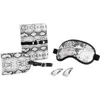 Travel Smart by Conair  Black and White Snake Skin Printed 5-Piece Travel Set