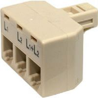 Steren 300-324 4-Conductor 2-Line Split Adapter - Ivory
