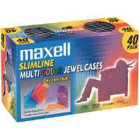 Maxell CD-366 Multi-Colored Slim Jewel Cases - Multi-Colored
