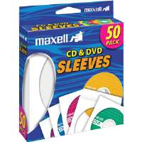 Maxell CD/DVD Sleeve - White, Pack Of 50 - 190135