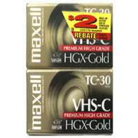 Maxell TC-30 HGX/2 HGX-Gold Premium High-Grade VHS-C Videocassette - 2 Pack